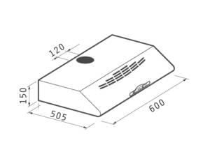 Απορροφητήρας Απλός 60cm με μεταλλικά φίλτρα (065100101)
